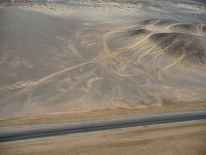 Permanent scaring of desert surface due to illegal 4x4 driving. Photo courtesy of from Henties Bay Tourism Association.